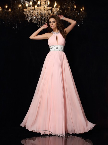 A-Line/Princess Chiffon High Neck Sleeveless Pleats Long Dresses