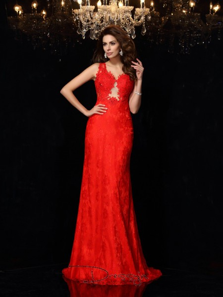 Sheath/Column Satin V-neck Sleeveless Lace Long Dresses