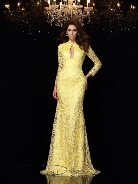 Sheath/Column Satin High Neck Long Sleeves Lace Long Dresses