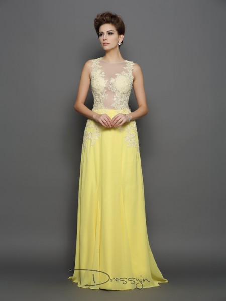 A-Line/Princess Chiffon Scoop Sleeveless Lace Long Dresses