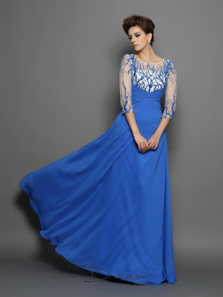 A-Line/Princess Chiffon Scoop 1/2 Sleeves Applique Long Dresses