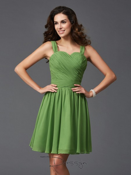 A-Line/Princess Silk like Satin Straps Sleeveless Ruffles Short Bridesmaid Dresses