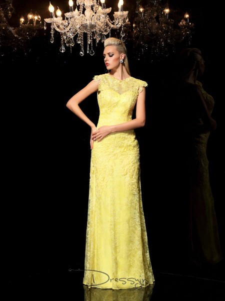 Sheath/Column Chiffon Sheer Neck Sleeveless Lace Long Dresses