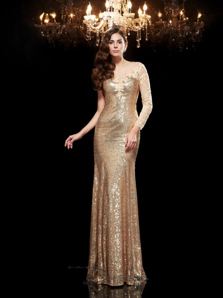 Trumpet/Mermaid Sequins Scoop 3/4 Sleeves Lace Long Dresses