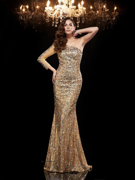 Trumpet/Mermaid Sequins One-Shoulder 3/4 Sleeves Beading Long Dresses