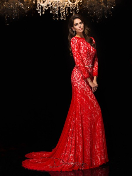 Sheath/Column Lace Bateau 3/4 Sleeves Lace Long Dresses