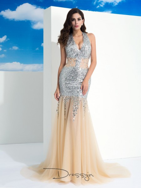 Sheath/Column Net Halter Sleeveless Paillette Long Dresses