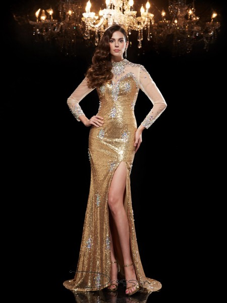 Trumpet/Mermaid Sequins High Neck 3/4 Sleeves Beading Long Dresses
