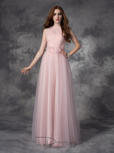 A-Line/Princess Net Bateau Sleeveless Hand-Made Flower Long Dresses