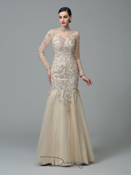 Sheath/Column Net High Neck Long Sleeves Applique Long Dresses