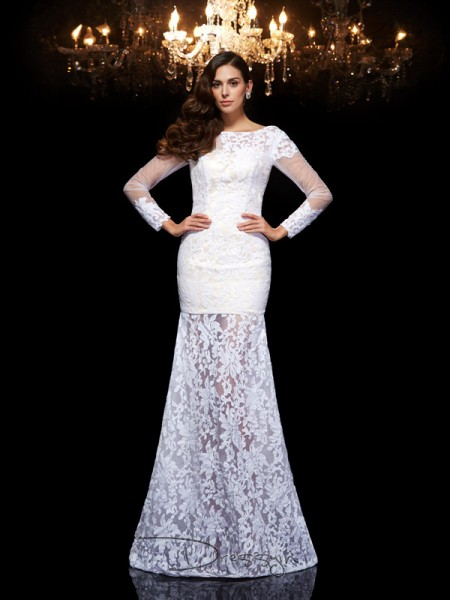 Trumpet/Mermaid Lace Scoop 3/4 Sleeves Lace Long Dresses