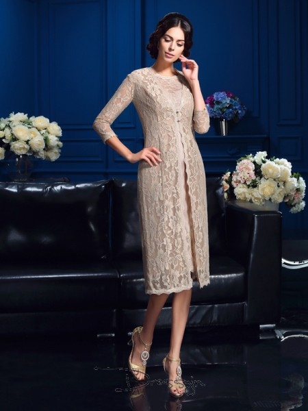 Sheath/Column Taffeta Scoop Sleeveless Lace Knee-Length Mother of the Bride Dresses
