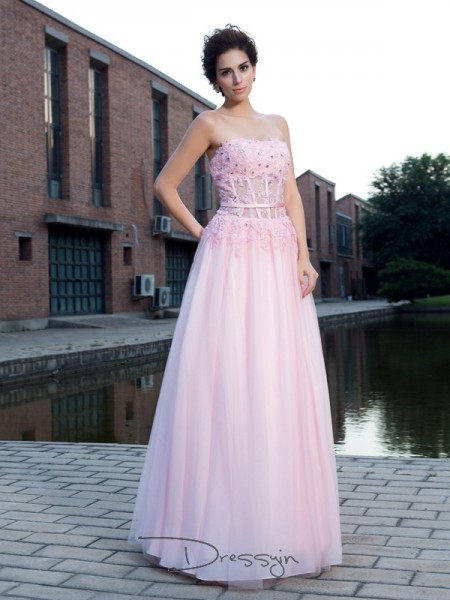 A-Line/Princess Net Straps Sleeveless Applique Long Dresses
