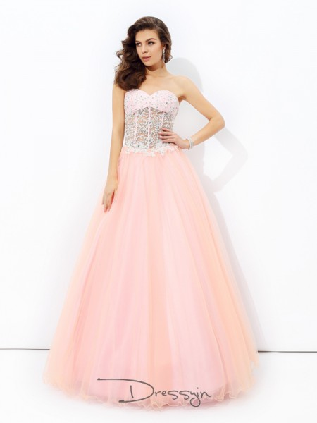 A-Line/Princess Net Sweetheart Sleeveless Lace Long Dresses
