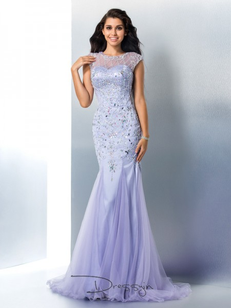 Trumpet/Mermaid Satin Sheer Neck Sleeveless Beading Long Dresses