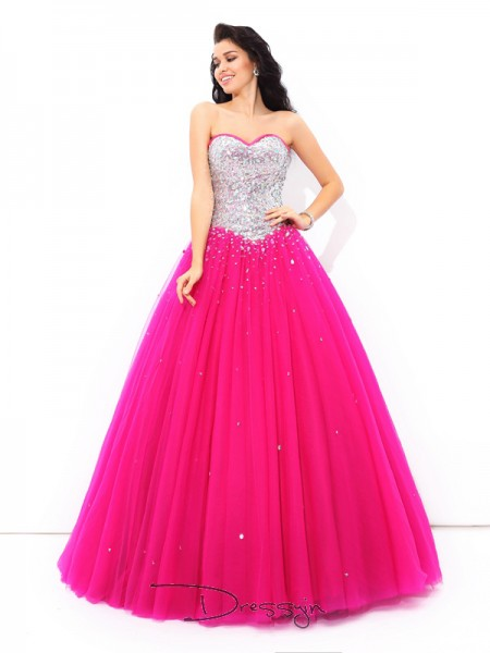 Ball Gown Satin Sweetheart Sleeveless Beading Long Quinceanera Dresses