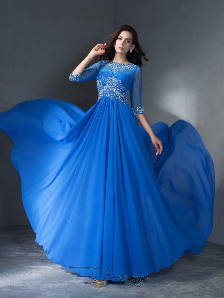 A-Line/Princess Chiffon Scoop 1/2 Sleeves Beading Long Dresses