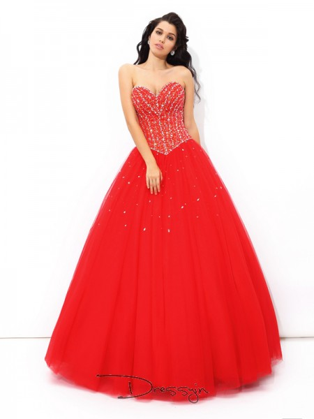 Ball Gown Net Sweetheart Sleeveless Beading Long Quinceanera Dresses