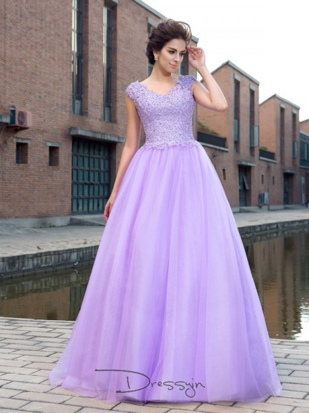 Ball Gown Net V-neck Short Sleeves Applique Long Dresses