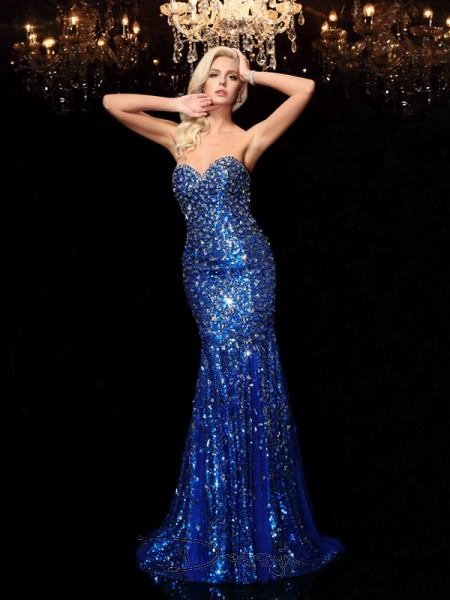 Trumpet/Mermaid Sequins Sweetheart Sleeveless Sequin Long Dresses