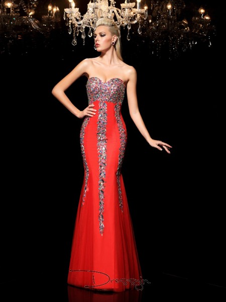 Sheath/Column Net Sweetheart Sleeveless Rhinestone Long Dresses