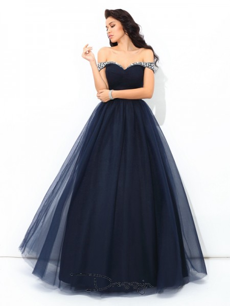 Ball Gown Net Off-the-Shoulder Sleeveless Beading Long Quinceanera Dresses