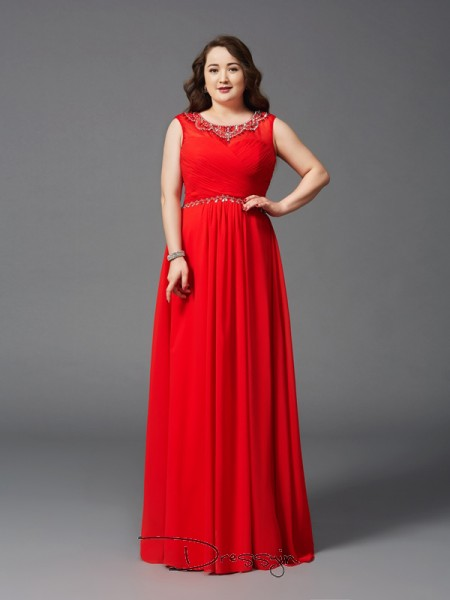 A-Line/Princess Chiffon Scoop Sleeveless Beading Long Plus Size Dresses