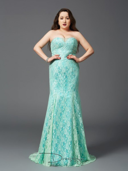 Sheath/Column Satin Strapless Sleeveless Lace Court Train Plus Size Dresses