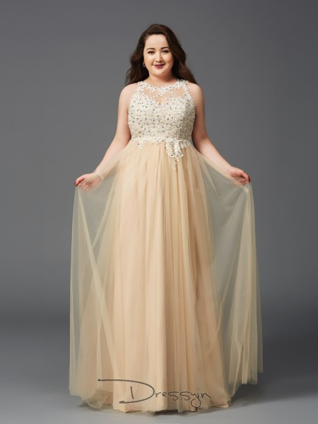 A-Line/Princess Net Scoop Sleeveless Rhinestone Long Plus Size Dresses