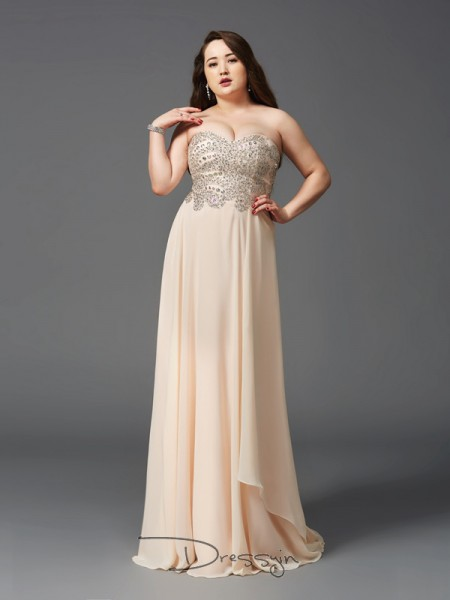A-Line/Princess Chiffon Sweetheart Sleeveless Rhinestone Long Plus Size Dresses