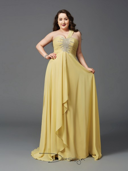 A-Line/Princess Chiffon One-Shoulder Sleeveless Rhinestone Long Plus Size Dresses