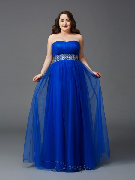 A-Line/Princess Net Strapless Sleeveless Rhinestone Long Plus Size Dresses