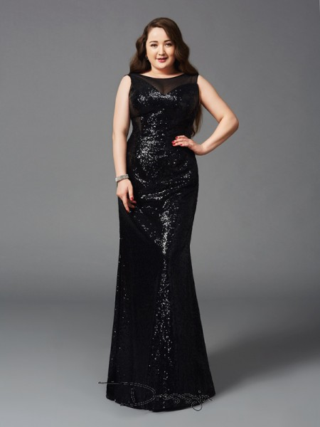 Sheath/Column Sequins Scoop Sleeveless Long Plus Size Dresses