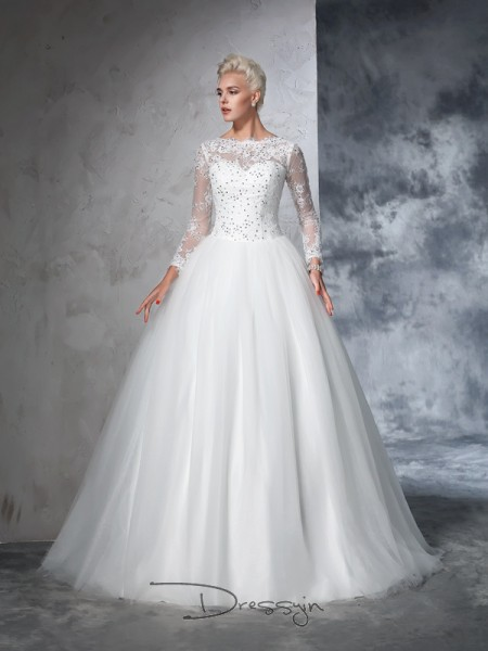 Ball Gown Net Bateau Long Sleeves Lace Long Wedding Dresses