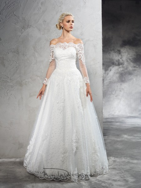 Ball Gown Net Off-the-Shoulder Long Sleeves Lace Long Wedding Dresses