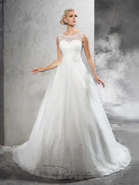 Ball Gown Net Sheer Neck Sleeveless Sash/Ribbon/Belt Court Train Wedding Dresses