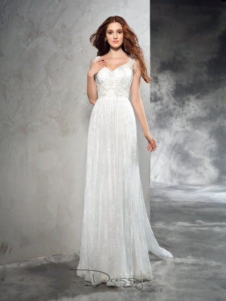 A-Line/Princess Lace Straps Sleeveless Lace Court Train Wedding Dresses