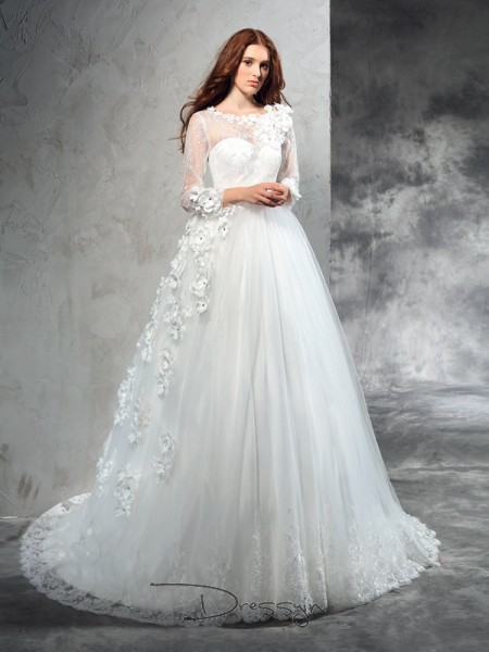 Ball Gown Net Sheer Neck Long Sleeves Hand-Made Flower Court Train Wedding Dresses