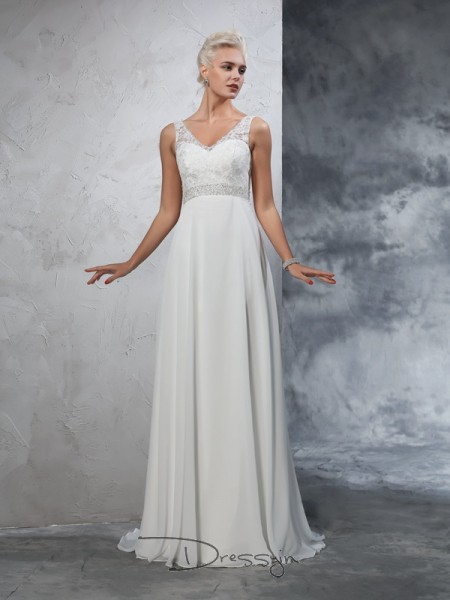 A-Line/Princess Chiffon V-neck Sleeveless Beading Court Train Wedding Dresses