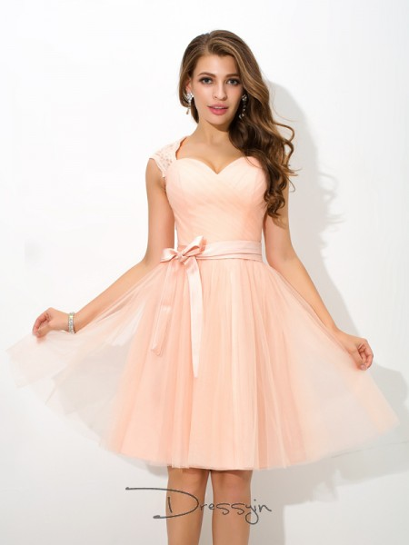 A-Line/Princess Net Straps Sleeveless Sash/Ribbon/Belt Short Bridesmaid Dresses