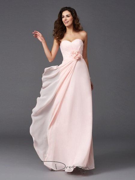A-Line/Princess Chiffon Sweetheart Sleeveless Hand-Made Flower Long Bridesmaid Dresses