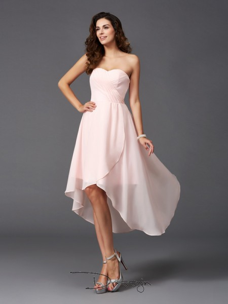 A-Line/Princess Chiffon Sweetheart Sleeveless Ruffles High Low Bridesmaid Dresses