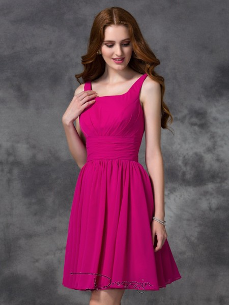 A-Line/Princess Chiffon Square Sleeveless Short Bridesmaid Dresses