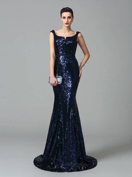 Trumpet/Mermaid Sequin Straps Sleeveless Long Dresses