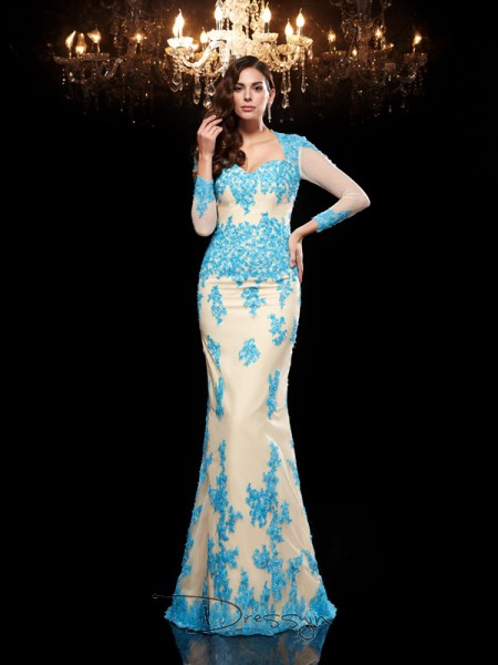 Trumpet/Mermaid Net Sweetheart 3/4 Sleeves Applique Long Dresses