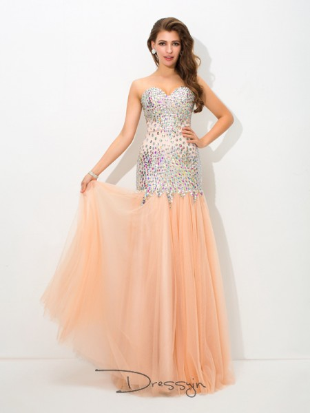 Trumpet/Mermaid Net Sweetheart Sleeveless Beading Long Dresses