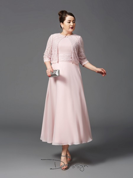A-Line/Princess Chiffon Jewel Sleeveless Lace Ankle-Length Mother of the Bride Dresses Plus Size