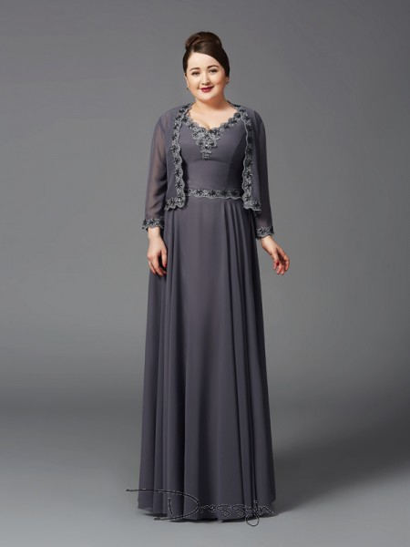 A-Line/Princess Chiffon Straps Sleeveless Lace Long Mother of the Bride Plus Size Dresses