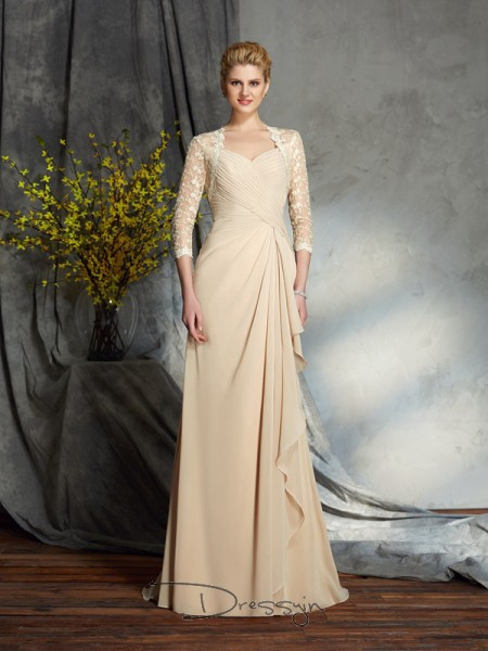 A-Line/Princess Chiffon Sweetheart 3/4 Sleeves Lace Long Mother of the Bride Dresses