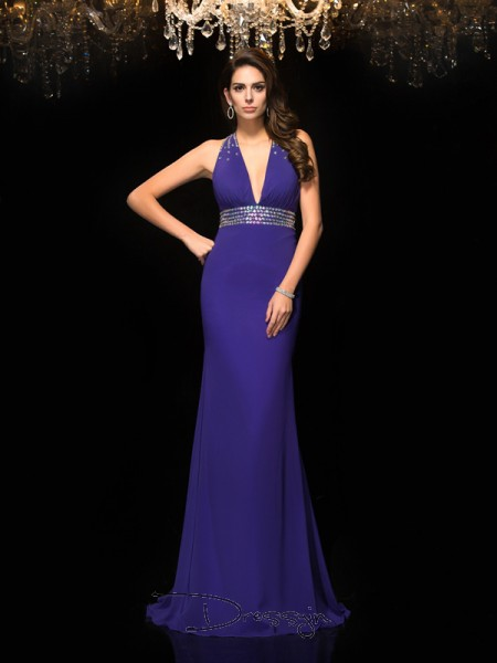 Trumpet/Mermaid Chiffon V-neck Sleeveless Beading Long Dresses
